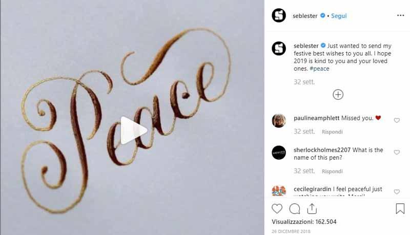 account Instagram sulla calligrafia